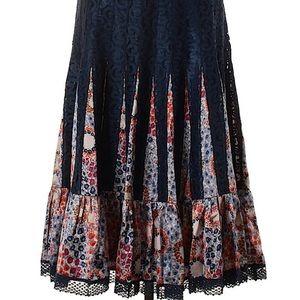 Free People Silk Skirt w Lace